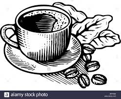 Black And White Cartoon Illustration Of A Cup Coffee Beans