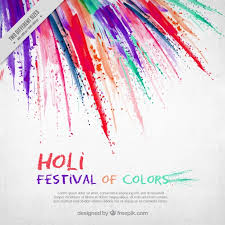 Holi Festival Background With Brush Strokes