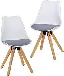 wohnling 2er set retro esszimmer stuhl lima ohne armlehne sitzfläche stoffbezug küchenstuhl mit weißer lehne aus kunststoff und 4 holz beinen