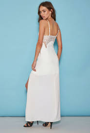 forever 21 tiger mist eyelash lace maxi dress in white lyst