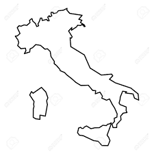 Simple Contour Map Of Italy Black Outline Isolated On White Background Stock Vector