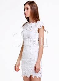 white short sleeve floral crochet bodycon dress shein sheinside