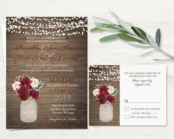 Mason Jar Wedding Invitation Printable Suite Rustic