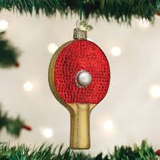 Old World Christmas Ping Pong Paddle Glass Ornament Table Tennis