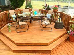 Patio And Deck Ideas For Small Backyards by Exterior Cool Deck Pressure Treated Wood Octogon Shape Design