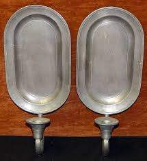 pair vintage colonial co pewter wall sconces candle