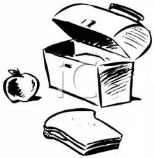 Clip Art Image Black And White Apple Sandwich Near A Lunch Box