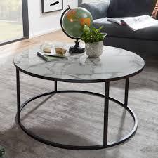 wohnling couchtisch rund 80x40x80 cm mit marmor optik weiß wohnzimmertisch mit metall gestell schwarz moderner dekotisch