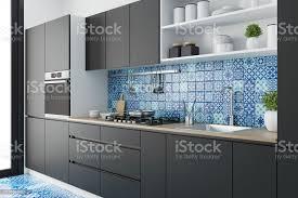 moderne schwarzskandinavische küche mit marokkanischen fliesen stockfoto und mehr bilder architektur