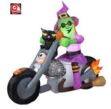 Airblown Inflatable Halloween Yard Decorations by 6 U0027 Gemmy Halloween Witch On Motorcycle Black Cat Airblown