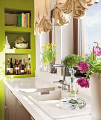 Ruffled Curtain For Modern Kitchen Decorating Ideas With Green