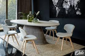 ovaler esstisch beton optik esszimmertisch tisch küchentisch 220 x 115 cm serie oslo trapez körper from betonoptik design