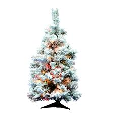 The Holiday Aisle Flocked Alaskan 3 White Artificial Christmas Tree With 100 Dura Lit Multi Colored Lights Reviews