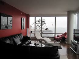 Black And Red Living Room Ideas by Red Living Room Wall Themes With Large Glass Windows Combined By