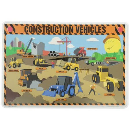 Painless Learning Placemat - Construction Vehicles