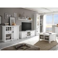 wohnzimmer wohnwand set inkl couchtisch wingst 61 landhaus stil pinie weiß nb stellmaß vitrine ca 63 cm