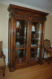 Henredon Walnut China Cabinet by Henredon Courchevel Collection Armoire Linen Press Massive And