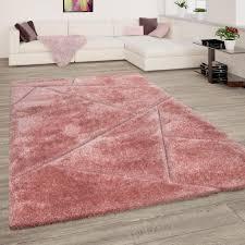hochflor teppich wohnzimmer shaggy 3d effekt dreieck muster modern rosa grösse 120x160 cm
