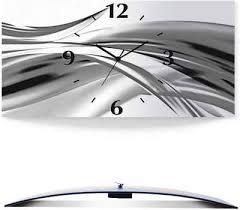 artland wanduhr schöne welle abstrakt 3d optik gebogen silber metallic