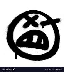 Graffiti Angry Emoji Sprayed In Black On White Vector Image