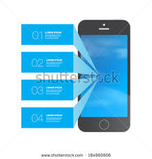 Black phone design with blue numbered infographic text boxes and blue sky background with clouds Eps