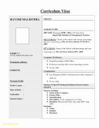 Resume Format For Engineering Freshers Pdf Best Of Within