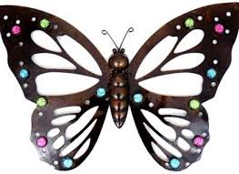 Large Metal Butterfly Wall Art Multicoloured Glass Bead