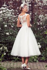 Lace Organza A Line Tea Length Sleeveless Wedding Dress Rustic