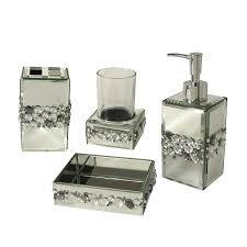 Bella Lux Mirror Rhinestone Bathroom Accessories shop elegant home fashions bling 4 piece bathroom accessory set at