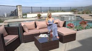 Outsunny Patio Furniture Assembly Instructions by Belleze Rattan Patio Sofa Set Youtube