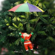 Xmas Tree Ornaments 3D Santa Claus Umbrella Pendants Hanging Christmas Decor For Home Office Hotel