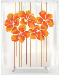 New Savings on Hibiscus Stripe Orange Tangerine Shower Curtain