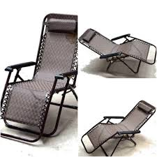 Recliner Folding Chair Zero Gravity With Padded Headrest