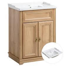 badezimmer waschtischunterschrank inkl retro keramik becken 60 cm cel