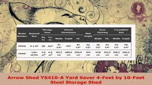 Arrow Metal Shed Floor Kit by Arrow Shed Ys410 A Yard Saver 4 Feet By 10 Feet Steel Storage Shed
