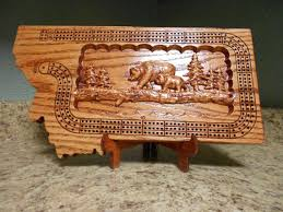 Montana Shaped Handmade Three Track Cribbage By Montanabobswood