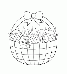 Basket With Easter Eggs Coloring Page For Kids Pages