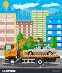 Tow Truck Takes Car Parking Prohibited Stock Illustration 727483855 ...