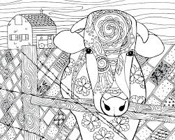 Free Cow Animal Coloring Page For Adults Farm Book Pages