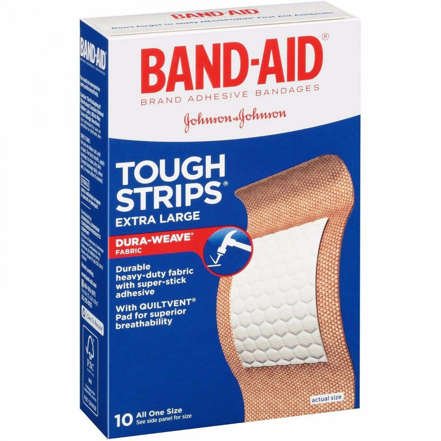 Band-Aid Tough Strips Adhesive Bandages - Extra Large, 10 Pack