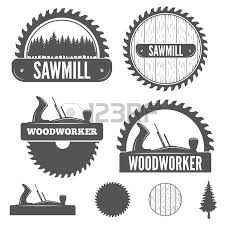 Set Of Logo Labels Badges And Logotype Elements For Sawmill Carpentry Woodworkers