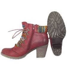 rieker buzzard red fashion ankle boot with knitted collar mozimo