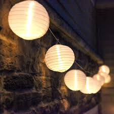 Set of 10 White Fabric Paper Lantern Lights Globe String Fairy