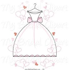 Bridal Clipart of a White Wedding Dress with Pink Accents on a Hanger with Floating
