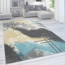 designer teppich für wohnzimmer pastellfarben farbverläufe abstrakt in gelb