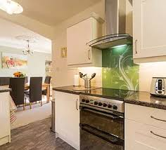 Custom Fitted Green Glass Splashback With Natola Design In And White