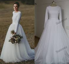 Cheap Elegant Long Sleeve Wedding Dresses Two Piece Bridal Gowns