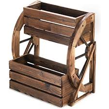 Patio Plant Stands Wheels by Amazon Com Plant Stands Patio Wagon Showcase Flowers Wood Pot