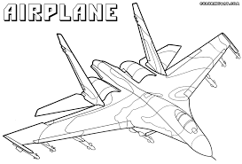 Fighter Airplane Colouring Sheet
