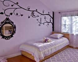 Nice Little Girls Bedroom Decor With Black Cats On The Tree Wall Decals